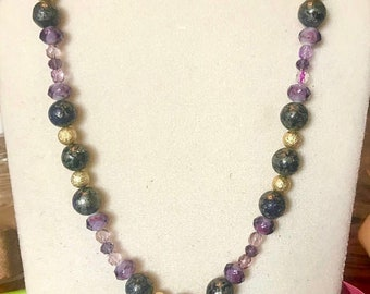Genuine Purple Gold Pyrite Necklace with Faceted Crystals