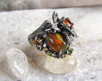 Natural Fire Opal Silver Ring, Fine Jewelry