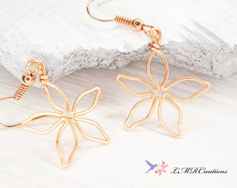 Small Copper Wire Flower Earrings, Delicate Bridesmaid Dangle Earrings, Copper Jewelry