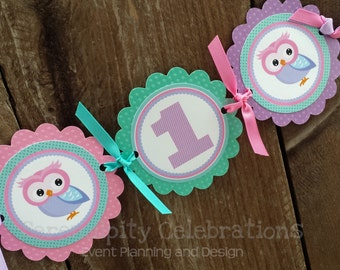 High Chair Banner -Pink Purple Teal Owl -Photo Prop -High Chair Bunting -1st Birthday -Small Banner -Whooo's 1 -Owl Banner -Owl -I am One