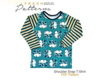 Shoulder Snap T-Shirt PDF Pattern Sizes Preemie to 2-3