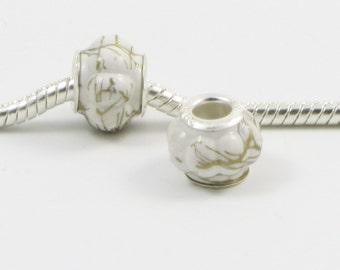 3 Beads - White Gold Lantern Paint Acrylic Silver European Bead Charm E0267