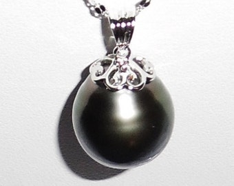 """Tahitian Pearl 19mm Natural Dark Gray Tahitian Cultured Pearl, SOLID 14kt White Gold 18"""" Chain, 14KT White Gold 9.7mm Bail Pendant, Necklace"""