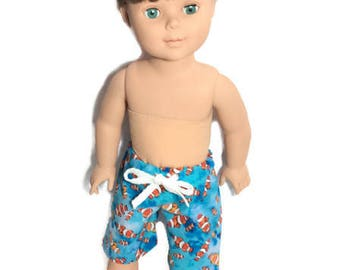 Clown Fish Swim Trunks, Boy Doll Boardshorts, 18 Inch Boy Doll Shorts, Summer Doll Clothes