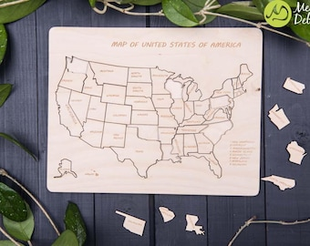 US map wood/USA map/ wooden states/ wooden map/ us map wall art/ united states map/ united states puzzle/ new home gift