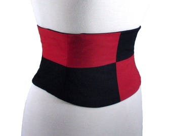 Queen of Hearts Corset / Red Black Waist Cincher / Harlequin Costume Corset Belt / Halloween Costume / Plus Size Corset / Steel Boned Corset