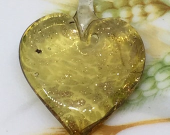 Venetian Murano Glass Heart Pendant , Topaz Heart Pendant , Gold Foil & Copper Lampwork Glass Pendant ,  34mm