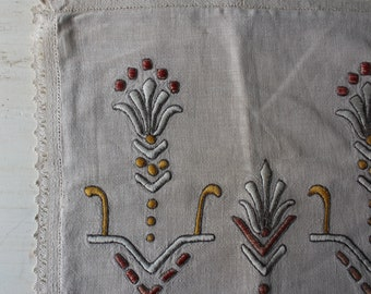 """Vintage Embroidered Linen Pillow Cover - 15"""" x 17"""" - Cover Only"""