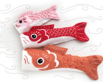 DIY felt embroidered Koinobori fish flag Party Decor PDF sewing pattern japanese felt animal patterns ornaments