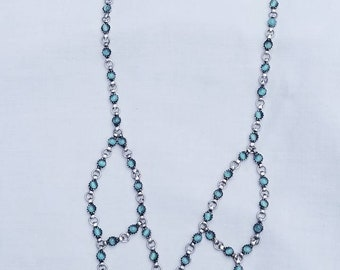 Vintage Sterling Silver & Blue Chalcedony Necklace