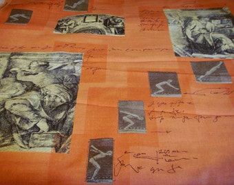 Orange twill Muybridge classical lithograph fabric upholstery home decor by the metre