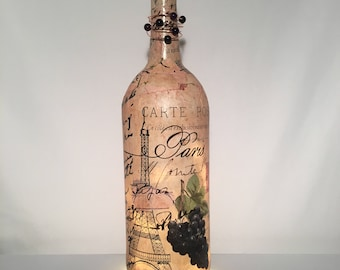Vintage Paris Wine Bottle Lamp