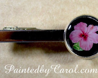 Hibiscus Tie Bar, Hibiscus Tie Tack, Hibiscus Tie Clip, Hibiscus Mens Gifts, Hibiscus Wedding Jewelry, Hibiscus Bridal, Hibiscus Gifts