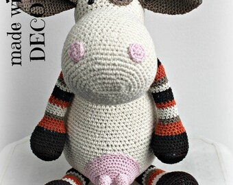Handmade stuffed cow beige...
