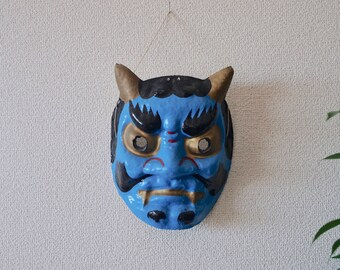 Omenー face mask・Ao-Oni(青鬼)   Wear this omen at the time of the ritual and the festival.