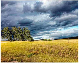 Wyoming , storm print, field print, landscape print, rustic decor, storm clouds, nature wall art, landscape print, fine art print