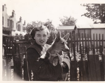 Pretty Lady With Her Cute Dog - Vintage c1940s Photograph