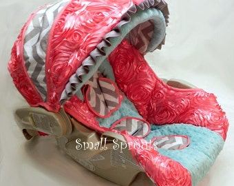 Coral Roses/Grey Chevron/Aqua Minky Dot Infant car seat cover 5 piece set