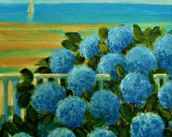 "Hydrangeas Beach Sailboat Ocean Original signed Acrylic Painting square 6""x 6""x 1.5"""