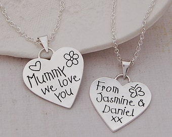 Personalized Silver Love You Mummy Heart Necklace, Mother's day, Gift for Mum, Children's names, Mums Birthday, Family Jewellery
