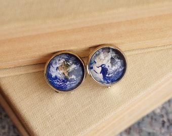 Earth Clip On Earrings, Planet Earth Hemispheres Earrings, Galaxy Glass Dome World jewelry Outer Space Solar System Astronomy Globe Clip Ons