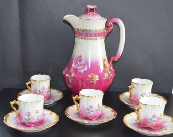 LIMOGES Porcelain CHOCOLATE Set Guerin Co. Hand Painted Roses