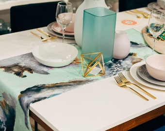 Chalcedony   Table Runner Watercolor handpainted gemstones printed on Linen Cotton   Tabletop   Gather