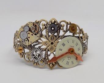Steampunk bracelet. Steampunk cuff bracelet.