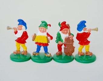 4 Vintage Plastic German Elves . Hard Plastic . Very Cute .  1950s/Christmas Collectible