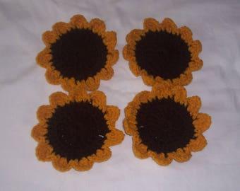 Set of 4 Sunflower Coasters