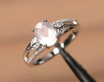 natural pink quartz ring engagement ring pink gemstone oval cut gemstone sterling silver ring