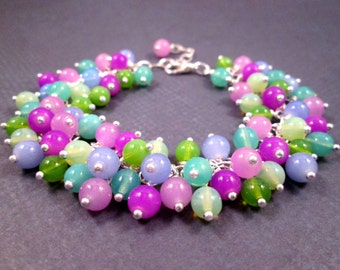 Silver Cha Cha Bracelet, Purple Blue and Green, Colorful Glass Beaded Bracelet, FREE Shipping U.S.