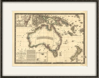 Australia map vintage Map print old map Antique prints poster map decor home decor wall  map decor map wall art large map 12x16 print
