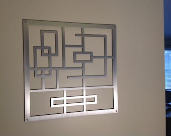"Metal Wall Art, Art, Decor, Abstract, Contemporary, Modern, Sculpture, Metal Art, ""Squared"" - Aluminum Sculpture"