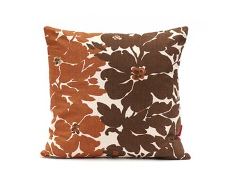 Brown Floral Pillow Cover 18x18 - Vintage Fabric Cushion Cover - 70s Couch Pillow Handmade by EllaOsix