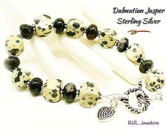 Dalmatian Jasper Bracelet, First Chakra, Root Chakra Jewelry, Black and White,  - B0902-06