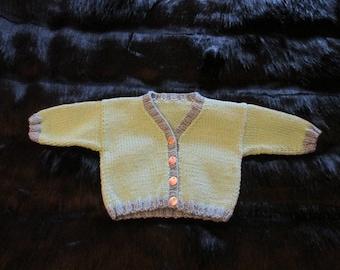 Vintage Handmade Baby Sweater 0-6 Months Cardigan Handknit