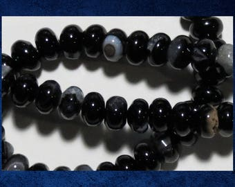 """Agate, Black - 14"""" strand 5x8mm smooth rondelle. Approx 72  gemstone stone beads. #AGAT-476"""