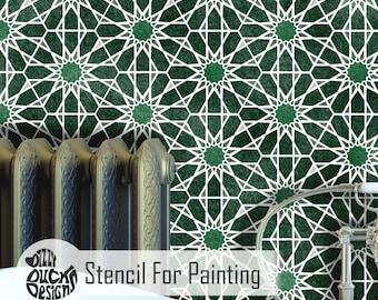 ZAIDA Tile Stencil - Moroccan Hexagon Stencil for Wall Furniture Craft Floor Stencil for Painting - ZAID01