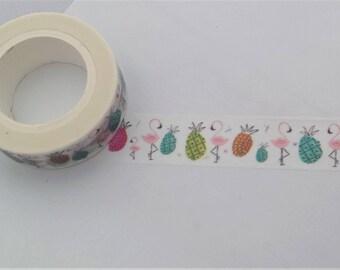 Flamingo & Pineapple Washi Tape//Decorative Tape//Craft Tape