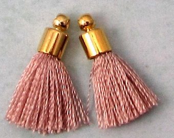 Tiny Silky Tassel Charm, Blush, Gold Cap, 17 MM, 2 Pieces, AG306