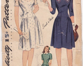 RARE 1940s Simplicity 4876 Sweetheart Dress Vintage Sewing Pattern, Size 15, Bust 33, Complete Unprinted