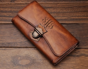 Womens wallet leather,leather womens wallet,Monogram clutch,leather clutch,gift for women,personalized womens,monogrammed wallet for women