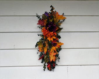 Colorful Autumn Swag, dried floral vibrant teardrop swag, rustic vertical hanging fall swag!