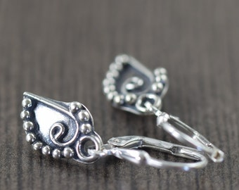 Sterling silver leaf earrings bali jewelry botanical jewelry gardening gifts nature jewelry