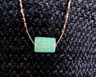 Rectangular Magnasite Medallion  w/ Metal Beads Necklace