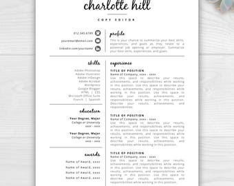 Creative Resume Template | Resume Icons | Resume Template Word U0026 Pages |  Instant Download Resume