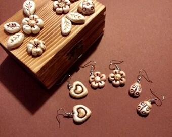 Fimo Flower Earrings Heart Ladybird Casket