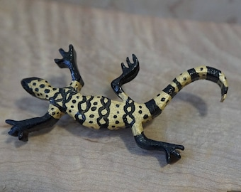 Handpainted Wooden Black and Gold Gecko or Lizard Pin