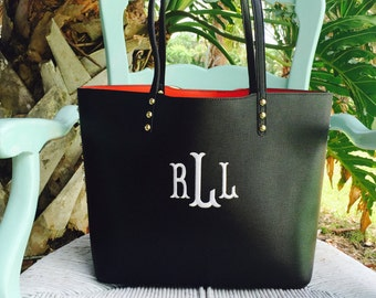 Monogram purse tote - designer inspired bag- monogram pocketbook - black monogram bag ~ Studded Tote ~ Studded Purse